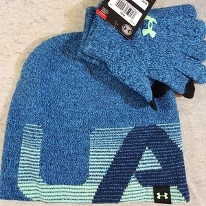 Under Armour Beanie Hat and Gloves Set